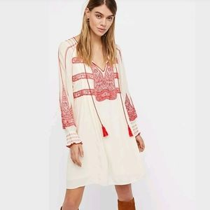 Free People Wind Willow Orange Embroidered Tunic